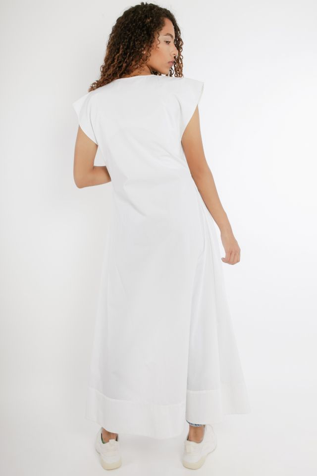 Cotton Blend White Cape