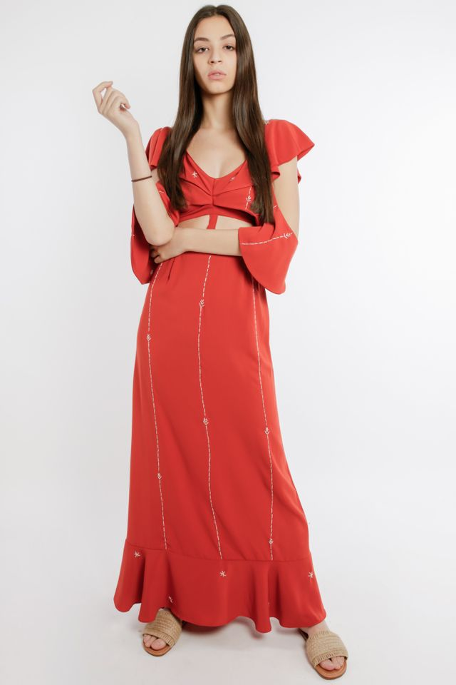 Limited Edition Frill Printed Maxi