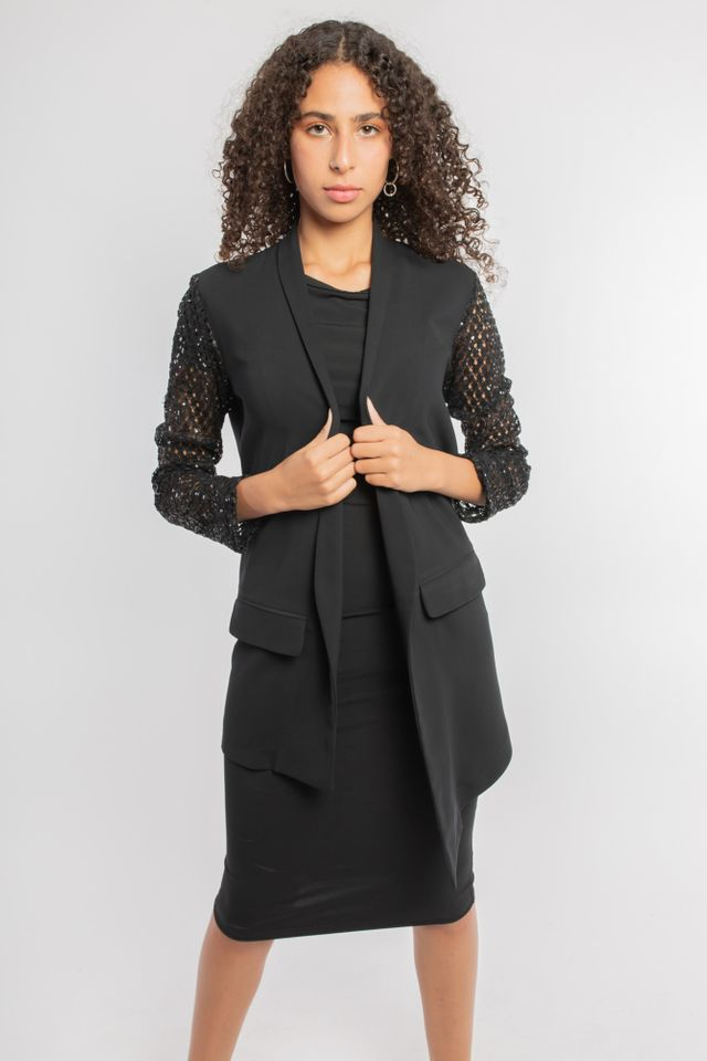 Lace Sleeves Open Front Blazer