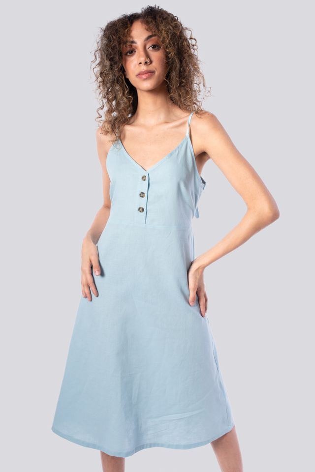 Thin Strap Back Knotted Linen Dress