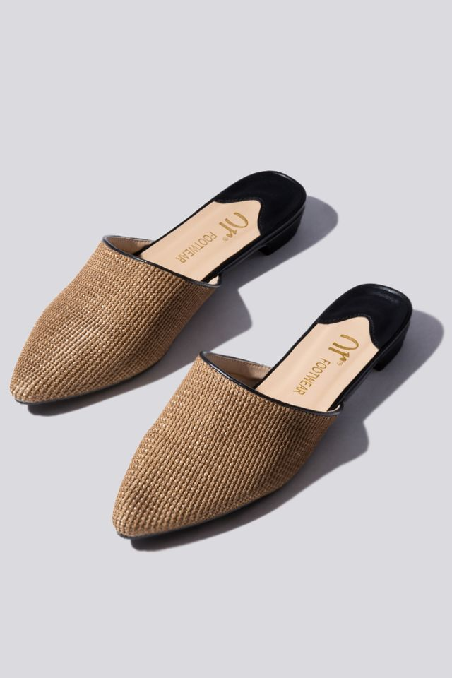 Gold Weave Mules