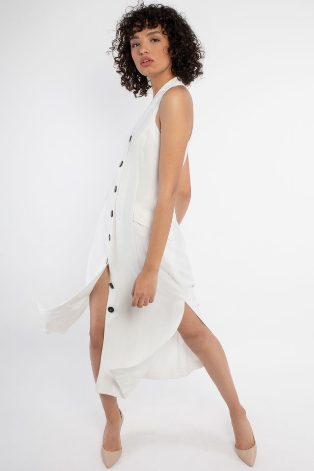 White dress with large button detail